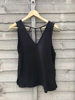 """£5 • Buy Black """"cage Front"""" Jersey Top. Size 12 New Look. Vgc"""
