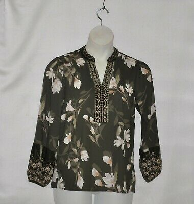 $21.59 • Buy Belle By Kim Gravel Fall Magnolia Print Blouse Size S Olive