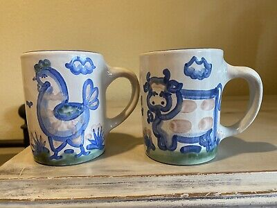 $32 • Buy MA Hadley Pottery Country Scene Coffee Mug Set Of 2 Rooster And Cow. Signed.