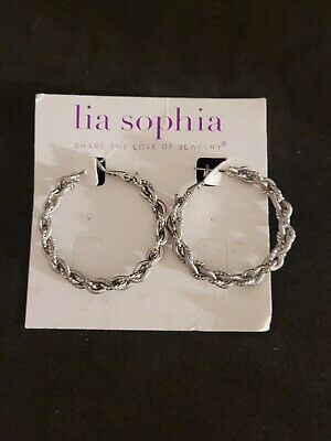 $ CDN16.93 • Buy Lia Sophia Silver Tone Twisted Textured Rope Round Hoop Earrings Pierced NWOT