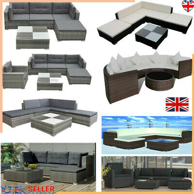 Rattan Garden Furniture Set Chairs Sofa Table Outdoor Patio Wicker 4/6/8 Seater • 857.59£