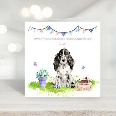 £2.50 • Buy Personalised Birthday Card - Cocker Spaniel - Custom Design With Name Or Message