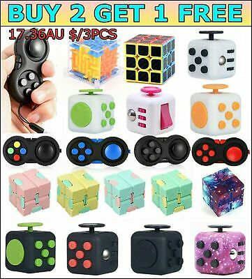 AU10.56 • Buy Fidget Toys Hand Finger Cube 3D Focus Stress Reliever Toy Magic Kids Adults Gift