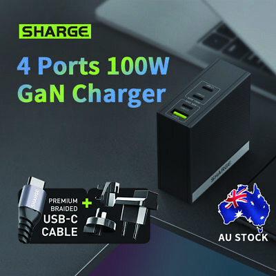 AU107.96 • Buy SHARGE 100W USB C Fast Charger 4-Port Wall Charger Palm-Sized Type C GaN Charger