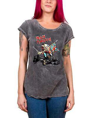 £14.95 • Buy Iron Maiden T Shirt The Trooper Logo Official Womens New Acid Wash Skinny Fit