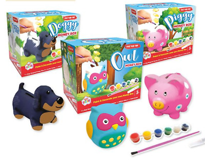 £4.50 • Buy Paint Your Own Money Box - Pig, Shark, Robot. With Paint, Glitter Glue, Brush