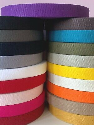 £3.30 • Buy French 100% Cotton Thick 2mm Webbing Belt Tape Strap   25mm - Sold By The Metre