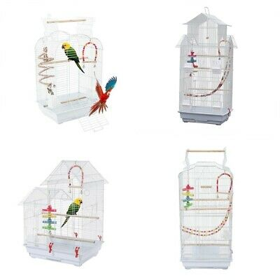 £36.99 • Buy Large Metal Bird Cage White For Small Birds Canary Cockatiel Budgie Parakeet UK