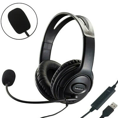 £10.95 • Buy USB Headphones With Microphone Noise Cancelling Headset For Skype Laptop PC Call