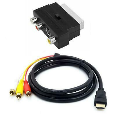 £4.69 • Buy 1080P HDMI Male S-video To 3 RCA AV Audio Cable + SCART To 3RCA Phono Adapter