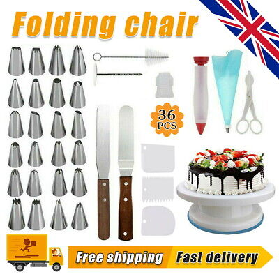 £11.99 • Buy 36PCS Cake Decorating Turntable Set Tools Mould Stainless Spatula Baking Nozzles