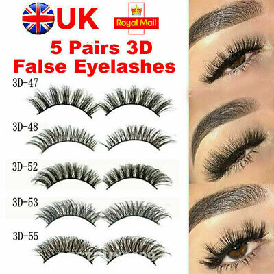 10 Pair 3D Mink False Eyelashes Wispy Cross Long Thick Soft Fake Eye Lashes UK H • 2.99£