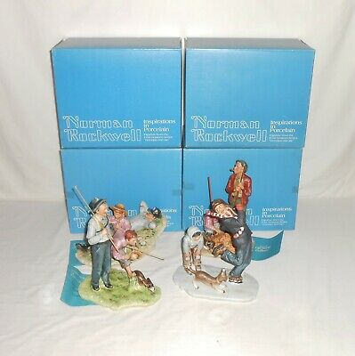 """$ CDN311.18 • Buy Complete Series Vintage Norman Rockwell Four Seasons """"Grandpa And Me"""" Figurines"""