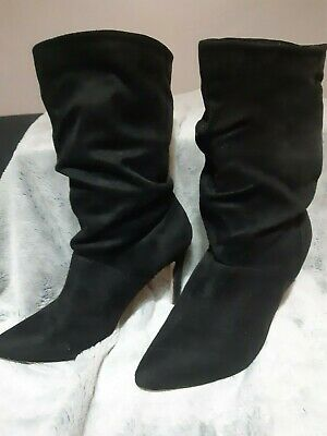 £10.50 • Buy London Rebel Slouched Ankle Boots Faux Suede Size 6 Pre Loved In V.g.c