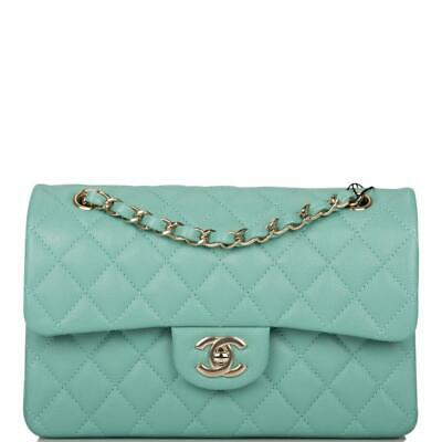 £5717.78 • Buy Chanel Light Green Quilted Caviar Small Classic Double Flap Bag Light Gold