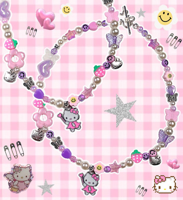 £16 • Buy Kitty Fairy 90s Indie Aesthetic Mismatched Beaded Pearl Necklace