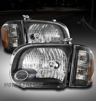 $149.95 • Buy For 05-06 Toyota Tundra Double Cab/sequoia Headlights Headlamps Black Left+right