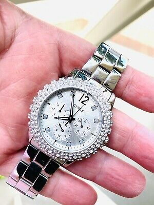 $ CDN93.56 • Buy Guess Ladies Chronograoh Watch W033D5L1 With Diamond Bezel Pave Setting / Silver