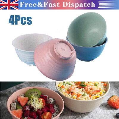 £12.52 • Buy 4Pcs Set Colourful Big Cereal Bowls Wheat Straw Degradable Bowl Unbreakable New