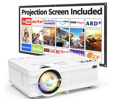 $ CDN188.69 • Buy QKK Projector 6000 Lumens 1080P With Projection Screen Full HD Supported Theatre