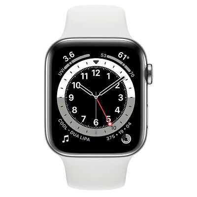 $ CDN827.28 • Buy Apple Watch Series 6 GPS + Cellular 44mm Silver Stainless Steel White Sport Band