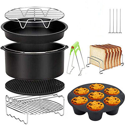 AU23.99 • Buy Air Fryer Accessories 8 Inch Frying Cage Dish Baking Pan Rack Pizza Tray Pot AU