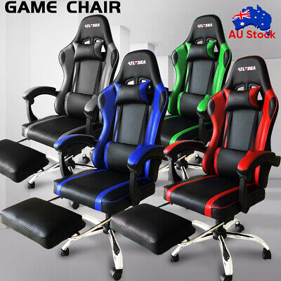 AU102.99 • Buy Office Computer Gaming Chair Executive Racer Recliner Chairs PU Leather Seat New