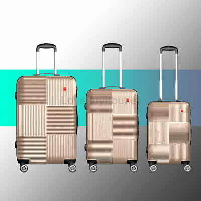 """View Details 3 PCS Golden 360° Spinner Wheels Luggage Set Trolley Suitcase + Lock 20"""" 24"""" 28"""" • 79.00$"""