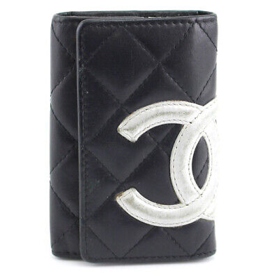 £197.53 • Buy CHANEL Cambon Line Quilted Calf Leather 6 Hooks Key Case Black/Silver #53402