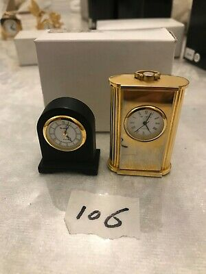 £8 • Buy TWO Miniature Quartz Clocks One Carriage And One Mantlepiece Design New Battery