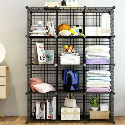 AU68.79 • Buy 8/12 Metal Wire DIY Storage Cube Bookcase Modular Shelf Unit Wardrobe Display