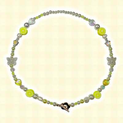 £15 • Buy Lemon 90s Indie Aesthetic Mismatched Beaded Pearl Necklace