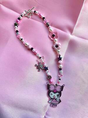 £16 • Buy  Sanriocore 90s Indie Pastel Goth Skull Aesthetic Mismatched Beaded Necklace