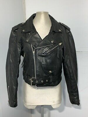 £79 • Buy WOMENS VINTAGE 80's LEATHER GOLD LONDON CROPPED BRANDO MOTORCYCLE JACKET SIZE 38