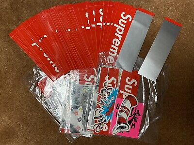 $ CDN125.31 • Buy Red Supreme Stickers Lot Of 40+ Scratch Off Box Logos Included