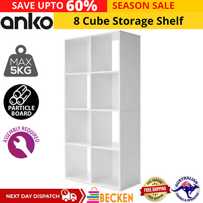 AU63.32 • Buy 8 Cube Storage Shelf DIY Cabinet Cupboard Organizer Bookshelf Display Unit Whte
