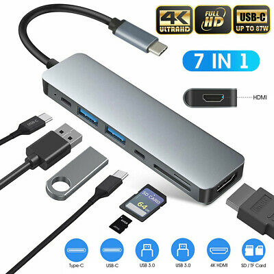AU32.08 • Buy 7in1 Multiport USB-C Hub Type C To USB 3.0 4K HDMI Adapter For Macbook Pro/Air