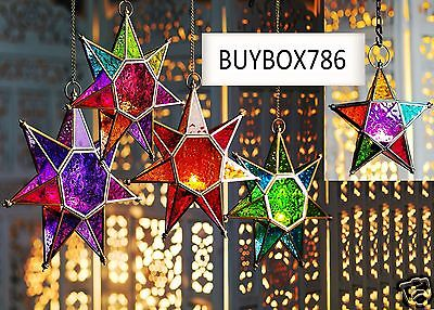 £14.95 • Buy Moroccan Style Star Hanging Glass Lantern Tealight Holder Colour Style Choice