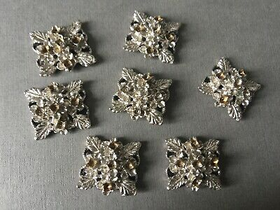 £3.49 • Buy Vintage Square -Ish Shape Floral Rhodium Plate? Jewellery Findings Connectors