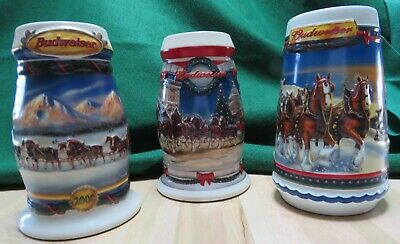 $ CDN11.25 • Buy Budweiser 2000-2002 Holiday Stein Collection Lot 3