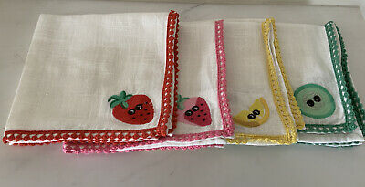 £23.95 • Buy New WT Cath Kidston Fun Set Of 4 Cotton Napkins With Fruit Characters And Trim