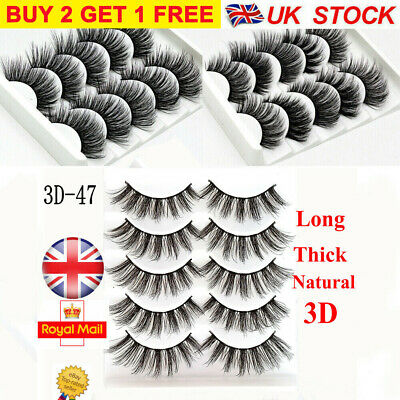 5Pair 3D Mink False Eyelashes Long Wispy Cross Long Thick Fake Eye Lashes  UK • 4.49£