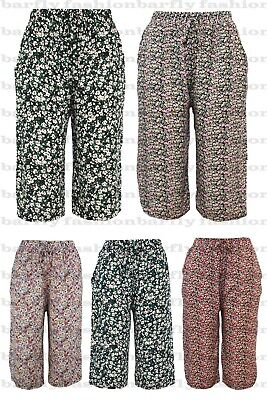 £7.99 • Buy New Ladies Womens 3/4 Crops Shorts Cropped Capri Cotton Trousers Beach Summer