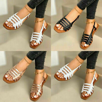 Ladies Womens Vintage Cage Gladiator Sandals Comfy Beach Flat Shoes Size 2-8.5 • 14.99£