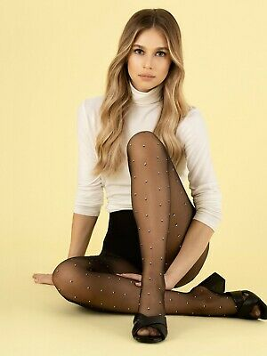£5.99 • Buy Fiore Funny Game Patterned Tights 8 Denier Contrast White Black Diamond Squares