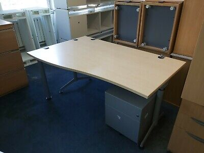 £45 • Buy 160cm Herman Miller Office Home Wave Maple Desk Table With Pedestal/Drawers