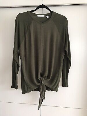 AU19 • Buy Country Road Olive Green Khaki Tie Front Long Sleeve 100% Viscose Size  S