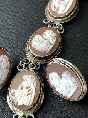 Antique Sterling Silver Cameo Bracelet Italy 7 Day Greek God Earrings 800 Set • 141.64£