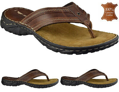 £22.95 • Buy Mens Leather Toe Post Sandals Beach Shoes Cushioned Walking Summer Flip Flops