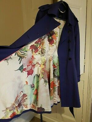 Ted Baker Belted Trench Coat 3 10-12 Rrp £329 Long Flare Parka Rain Classic Mac • 41£
